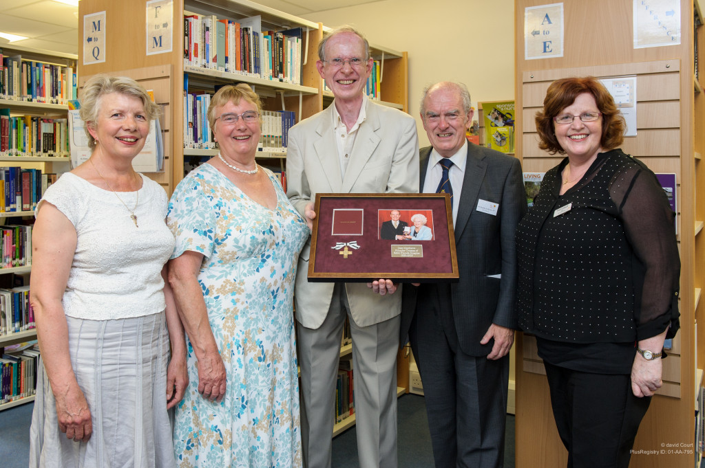Presentation at the renaming of the hospice's library in honour of Joan Matthews. From L to R: Penny Ward, Jill Nicholls, Colin Nicholls, Vice-Chairman of the Board of Trustees of the hospice Neville A. Brown, and Hospice CEO Pam Court.