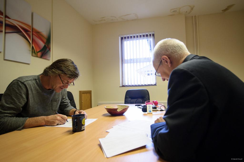 Richard recording the Radio Interview at Saint Francis Hospice